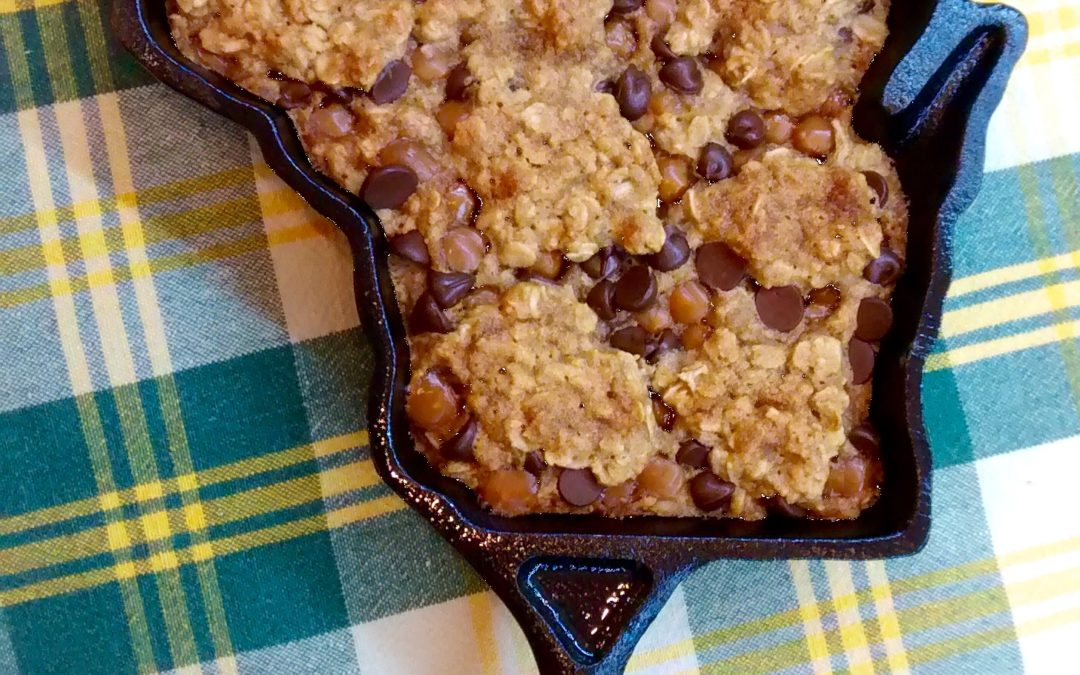 Chocolate Chip Caramel Oatmeal Skillet Cookie