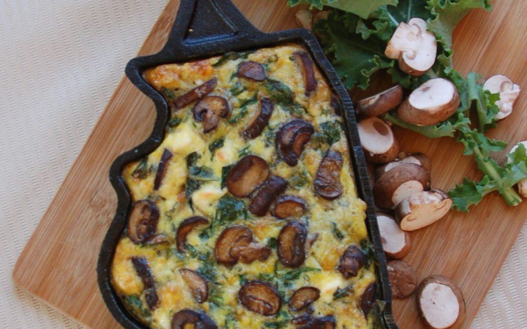 Mushroom, Kale & Feta Breakfast Casserole